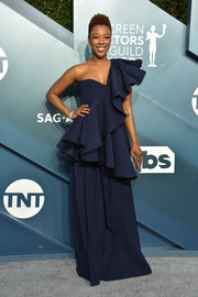 Samira Wiley went the ultra-girly route in a ruffled navy one-shoulder top by ADEAM at the 2020 SAG Awards.