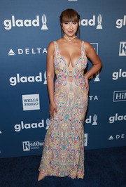 Jackie Cruz put her ample assets on display in a low-cut doodle-embroidered gown during the GLAAD Media Awards.