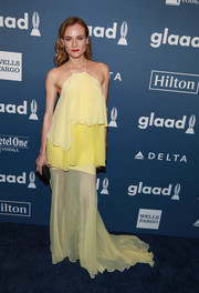 Diane Kruger paired her top with a floor-sweeping yellow skirt, also by Prabal Gurung.