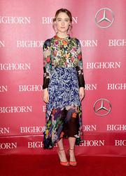 Saoirse Ronan chose a Duro Olowu frock rendered in an eclectic mix of prints for the Palm Springs International Film Fest Awards Gala.