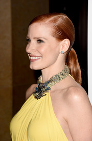 Jessica Chastain went for sleek styling with this tight side-parted ponytail when she attended the American Cinematheque Award.