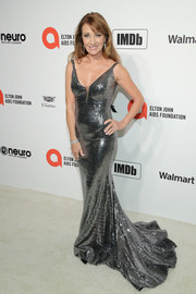 Jane Seymour glimmered in a silver fishtail gown by Jovani at the 2020 Elton John AIDS Foundation Oscar-viewing party.