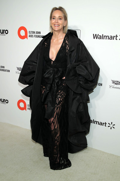 Sharon Stone looked ageless in a sheer black jumpsuit by Elie Saab at the 2020 Elton John AIDS Foundation Oscar-viewing party.