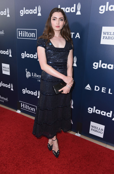 Emily Robinson was a classic beauty in a vintage Armani sequin dress that the actress paired with earrings and ring by Yossi Harari and a bracelet by Sylva & Cie at the 2017 GLAAD Media Awards.