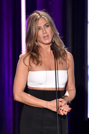 Jennifer Aniston Sported Red Nail Polish For A Pop Of Color To Her Black And