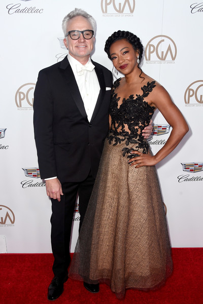 More Pics of Betty Gabriel Braided Updo (1 of 8) - Betty Gabriel Lookbook - StyleBistro [red carpet,carpet,clothing,dress,fashion,formal wear,flooring,event,suit,gown,arrivals,bradley whitford,betty gabriel,beverly hills,california,the beverly hilton hotel,l,annual producers guild awards]
