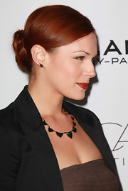 Amanda Righetti wore her gorgeous fiery locks in a simple pinned-up 'do at the 2nd Annual Autumn Party.