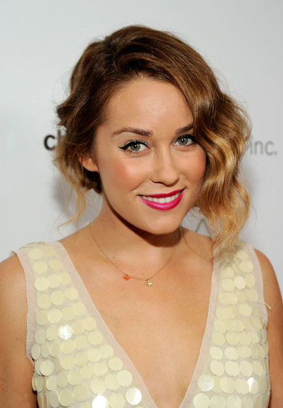Lauren wore her chic ombre locks in a pinned 'do.