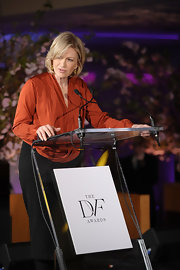 Diane Sawyer chose a chic long-sleeve rust-colored blouse and a pencil skirt for the Diller-Von Furstenberg Awards.