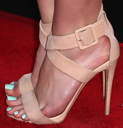Christa B. Allen chose a pair of nude sandals featuring a buckle strap while at the Lucky FABB event in Beverly Hills.