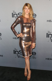 Laura Dern went for high shine in a rose-gold sequin dress by Tom Ford at the InStyle Awards.