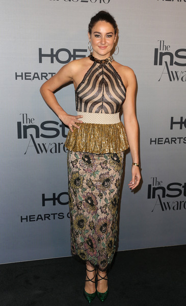 Shailene Woodley sealed off her eclectic look with a pair of strappy metallic-green pumps by Christian Louboutin.
