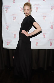 Andrej Pejic chose a capped-sleeve black gown for her look at the Millennial Ball 2.0.