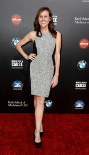 Molly Shannon sported a shapely silhouette in this gray and black sheath during the Rebels with a Cause Gala.