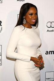 Jennifer Hudson paired her white Michael Kors dress with sparkling diamond earrings.