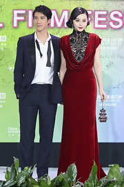 Fan Bingbing looked incredibly regal in this red velvet gown with a lace decolletage.