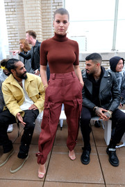 Sofia Richie donned a brown turtleneck by 3.1 Phillip Lim for the brand's Spring 2019 show.