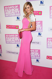 Jesinta stuck to a pretty bubblegum pink dress for the 30 Days of Fashion and Beauty event in Australia.