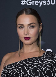 Camilla Luddington wore a tight, center-parted ponytail when she attended the 'Grey's Anatomy' 300th episode celebration.