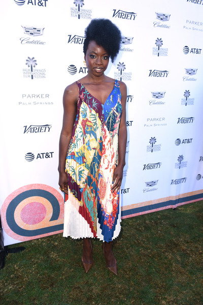Danai Gurira went for simple styling with a pair of tan pumps by Christian Louboutin.