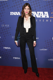 Alexa Chung was androgynous-chic in a black pantsuit from her eponymous label at the 2017 FN Achievement Awards.