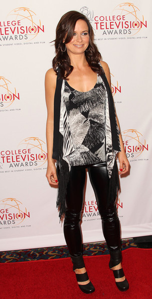 Mary Lynn Rajskub paired her leather pants with unique black leather cutout mid-calf boots.