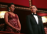 Michelle Obama completed her glamorous Kennedy Center Honors ensemble with a pair of dangling gemstone earrings.