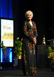 Glenn Close charmed in a floral wrap jumpsuit by Valentino at the 2019 Santa Barbara International Film Festival.