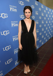 Claire Foy turned heads in a Dior LBD with a down-to-the-navel neckline at the 2019 Santa Barbara International Film Festival.