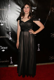 Mayim looked romantic at the Gracie Awards in a black chiffon evening gown.
