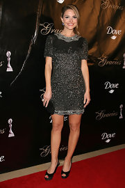 Maria Menounos teamed her elegant beaded dress with black satin peep-toe slingbacks.