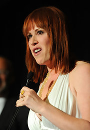 Molly Ringwald styled her hair in a sleek layered cut for the Los Angeles Film Critics Association Awards.