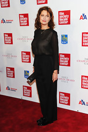 Susan Sarandon opted for an all-black look at the Chaplin Award Gala where she sported black slacks and a loose black blouse.