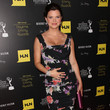 Heather Tom's floral-print black gown