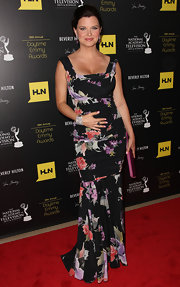 Heather Tom wore a floral print evening dress to the Daytime Emmy Awards.