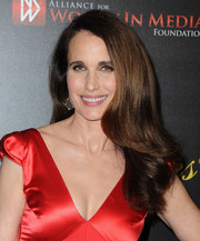 Andie MacDowell wore her hair loose with flippy waves down the ends during the Gracie Awards.