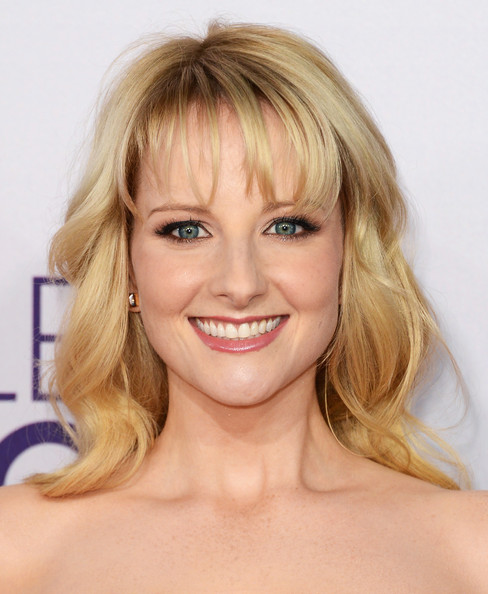 More Pics of Melissa Rauch Medium Curls with Bangs (5 of 5) - Shoulder Length Hairstyles Lookbook - StyleBistro