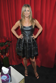 Jennifer wore edgy leather in a feminine silhouette for the People's Choice Awards.
