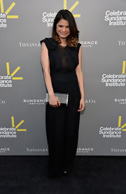 Melonie Diaz chose a wide-legged black jumpsuit with a ruffled top for her look at the Celebrate Sundance Institute Benefit.