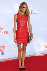 Sharni Vinson's fitted red leather dress definitely made a bold and vivacious statement on the red carpet.