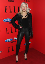 Ellie Goulding gave her nails a shellacking with a bright persimmon polish for the 3rd annual 'Elle' Women in Music event.