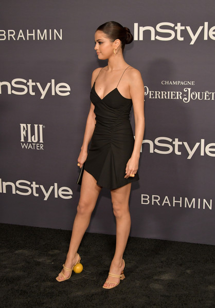 More Pics of Selena Gomez Strappy Sandals (4 of 11) - Heels Lookbook - StyleBistro [clothing,shoulder,dress,fashion model,little black dress,cocktail dress,joint,fashion,leg,human leg,arrivals,selena gomez,the getty center,los angeles,california,3rd annual instyle awards]