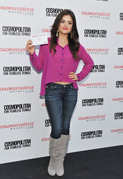 Lucy Hale was pretty in pink in a spotted blouse with a high-low hem.