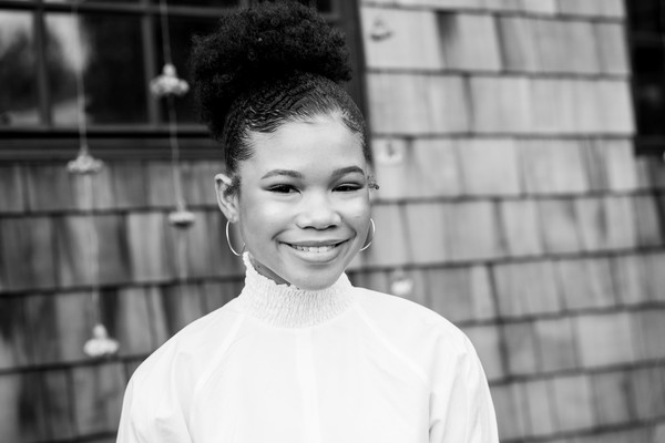 More Pics of Storm Reid Afro Puff (2 of 15) - Storm Reid Lookbook - StyleBistro [image,hair,white,photograph,face,black,black-and-white,facial expression,monochrome photography,people,smile,storm reid,california,los angeles,national day of racial healing,national day of racial healing at array]