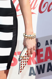 Justine's chunky spiked bracelet was the perfect accompaniment to her studded sandals.