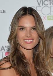 A dab of a shiny lip gloss kept Alessandra's beauty look fresh and lovely.