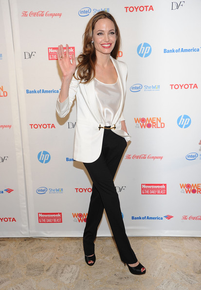 More Pics of Angelina Jolie Peep Toe Pumps (1 of 21) - Angelina Jolie Lookbook - StyleBistro