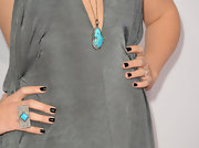 Colbie's dark nails were decidedly elegant, especially paired with gorgeous turquoise jewels!