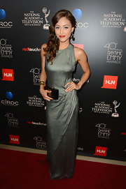 Lindsey wore this column-style dark silver gown to the Daytime Emmy Awards.