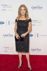 Kathie Lee Gifford was classic and sophisticated in a beaded black off-the-shoulder dress at the Gracie Awards.